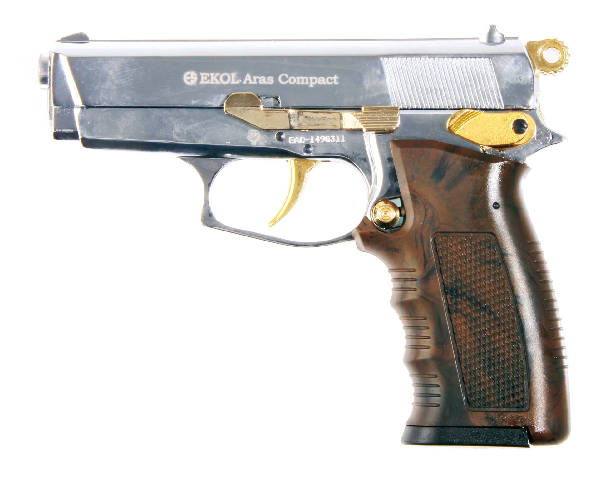EKOL ARAS COMPACT 9MM SHINY CHROME GOLD