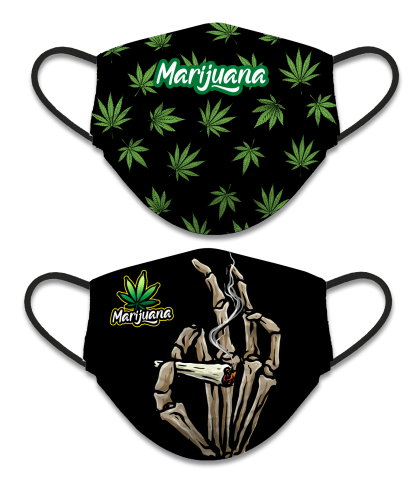 REVERSIBLE FACE MASK, MARIJUANA