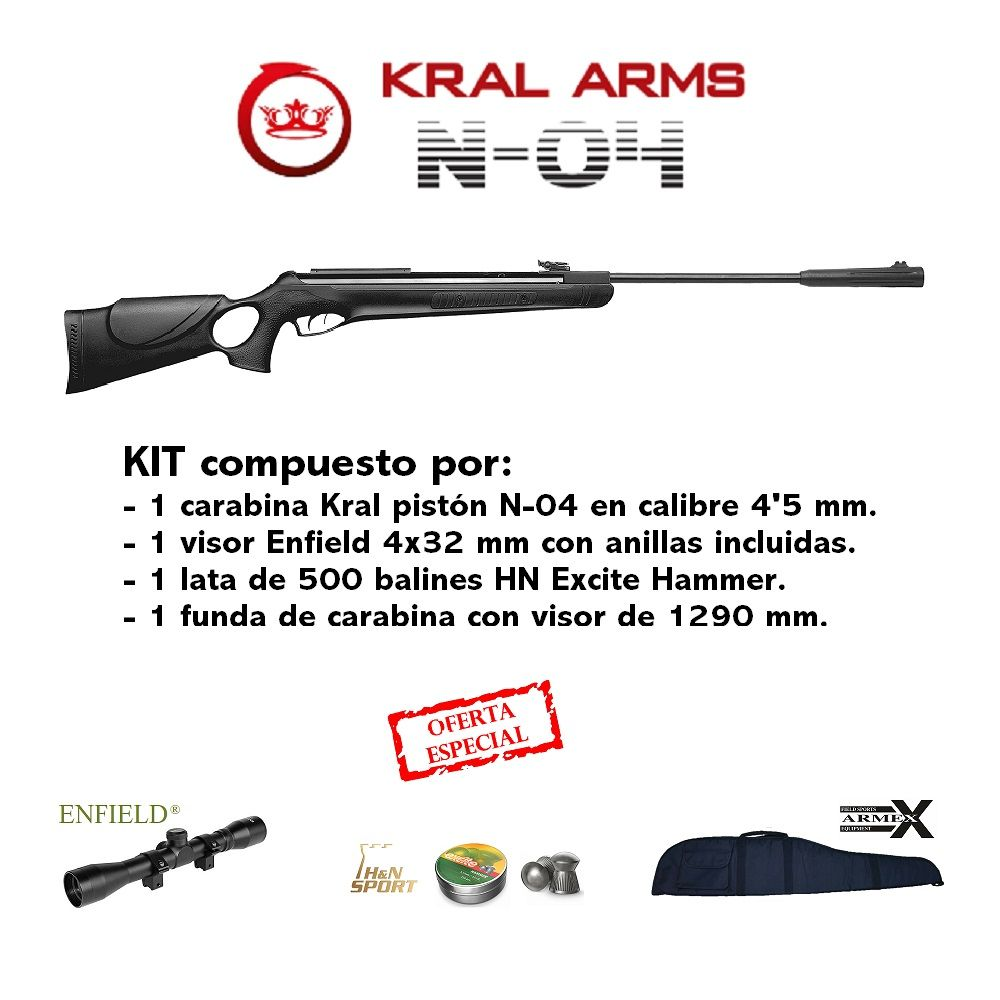 Kit Carbine Kral N-04 + Viewfinder 4x32 + 1 can balines H & N Excite Hammer + cover