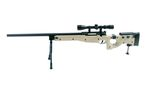 WELL (MB08D) TAN FOLDING STOCK AWP w/ SCOPE BIPOD AIRSOFT SPRING RIFLE