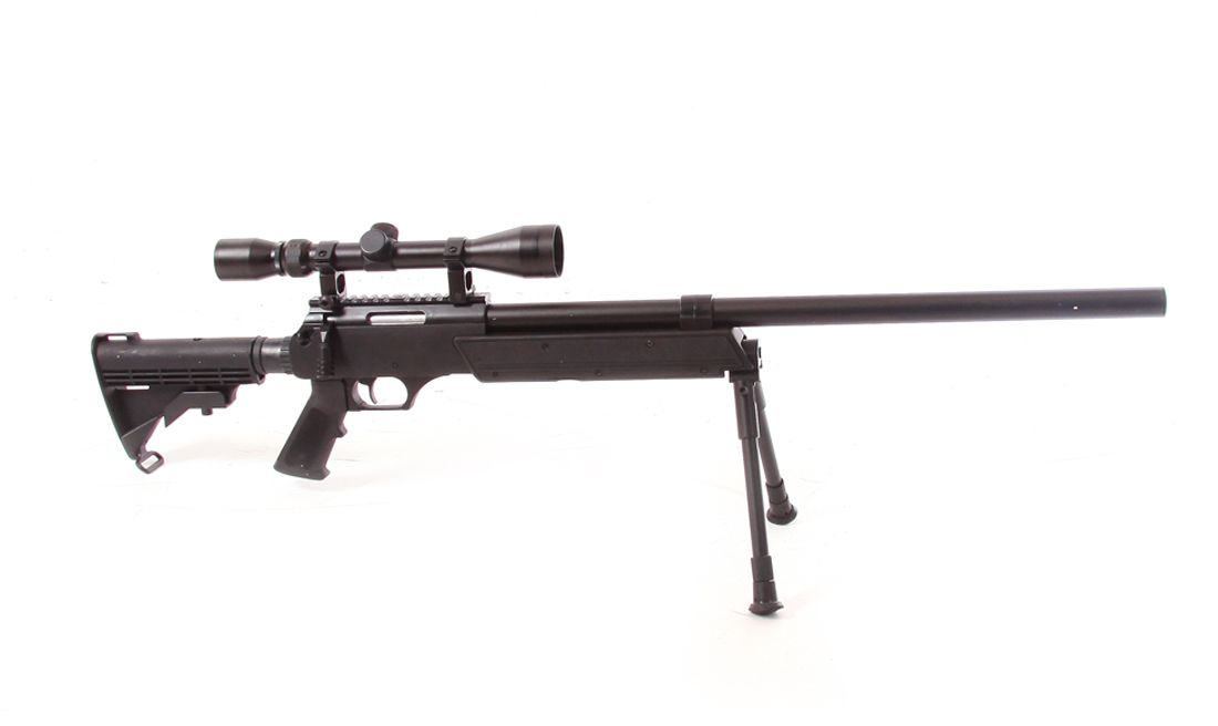 WELL (MB06D) BLACK 500FTP AIRSOFT SPRING SNIPER RIFLE W/ SCOPE AND BIPOD