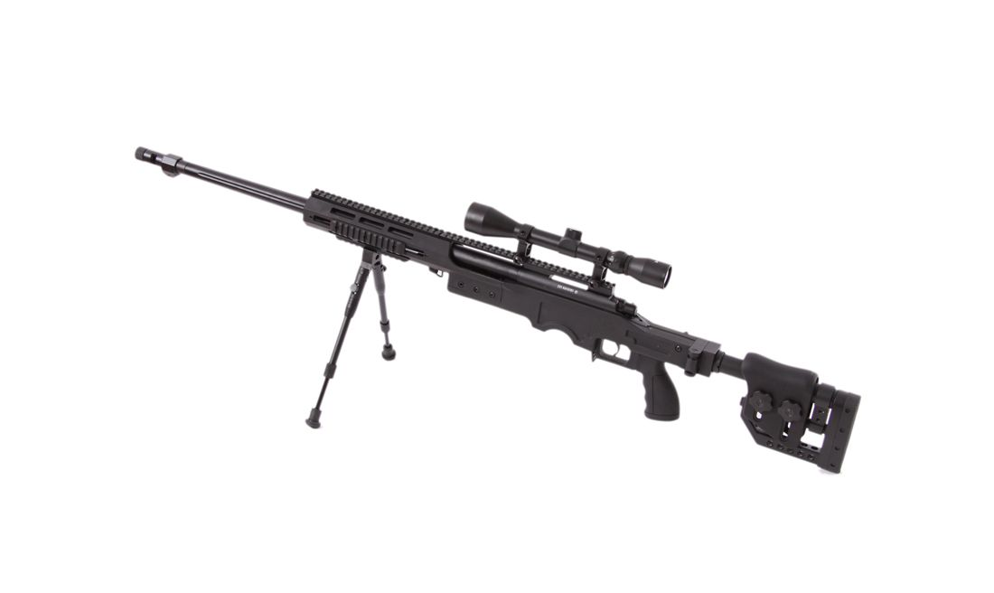 RIFLE CERROJO WELL MB4411D CON MIRA Y BIPODE NEGRO