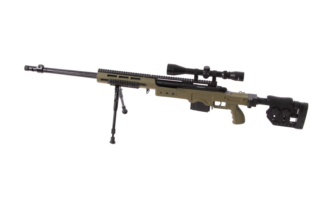 WELL MB4411D WITH SCOPE & BIPOD AIRSOFT OD SNIPER RIFLE