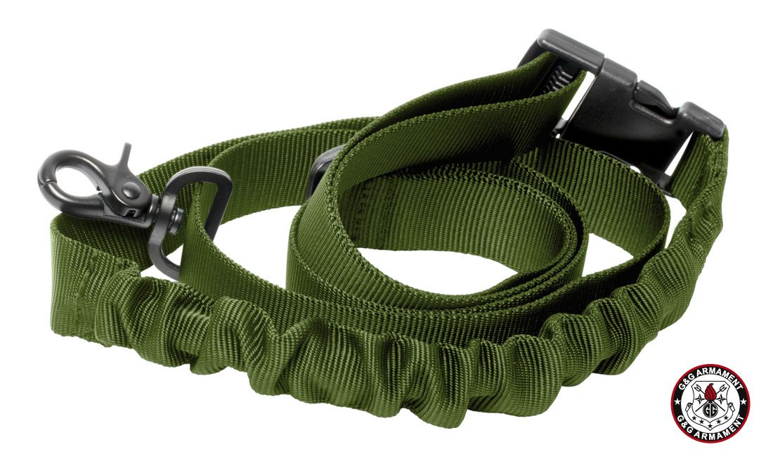 G&G SINGLE POINT BUNGEE RIFLE SLING - OD GREEN