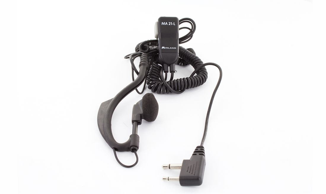 MIDLAND CLIP MIC w/ADJUSTABLE EARPHONE DOUBLE JACK 90º