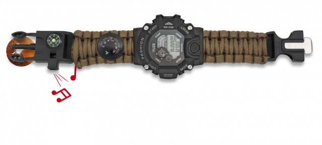 Digital watch. Paracord BARBARIC. Coyote