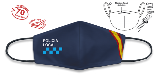 Face mask. Spanish flag. Blue. POL.LOCAL.CERTIFIED