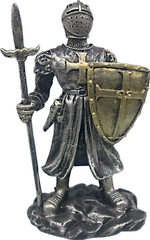 Resin Templar statue (shield and spear)