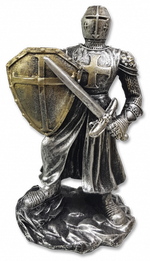 Resin Templar statue (shield and sword)