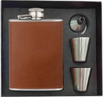 Set leather inox 8 Oz flask+shot glasses