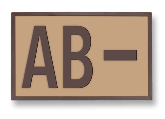 Tactical patch. Rubber. Blood type (AB-)