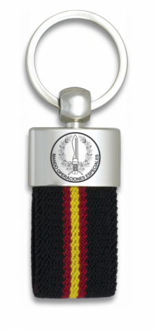 Key ring. Spanish flag black ribbon