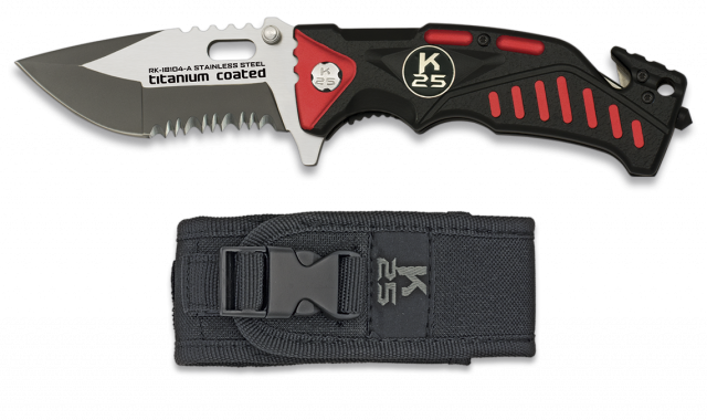 Pocket knife K25 FOS black and red 8.7cm