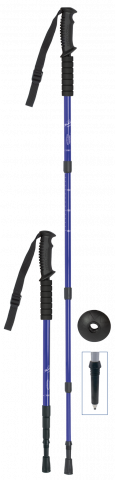 Trekking pole. 4 sections. Alumninium. Blue.