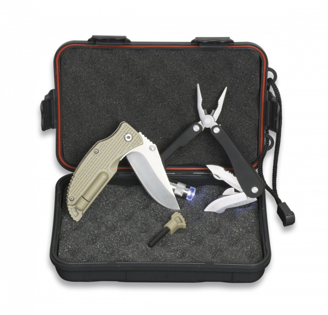 Survival set: Box+Pliers+Pocket knife+Fire starter