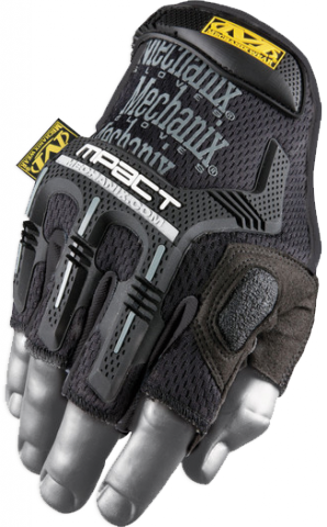MECHANIX GLOVES MOD. MPACT FINGERLESS NEGRO. M