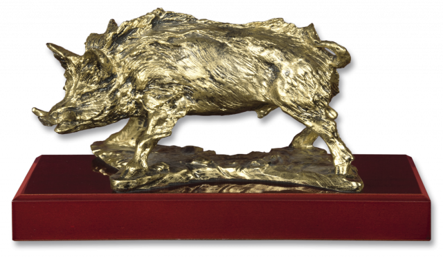 Trophy resin WILD BOAR with base 14.5 cm