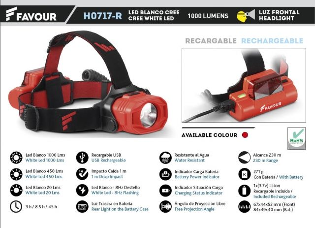 Headlight FAVOUR rechargeable 1000 LM red