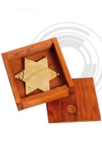 Denix Gold Sheriff star with wooden box 8101