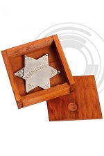 Denix Silver Sheriff star with wooden box 9101