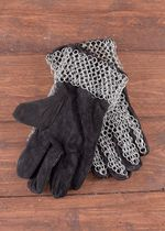 0516617500 Leather gloves with chain mail on back and wrist