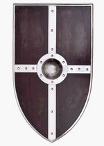 1101064200 Medieval wooden shield with steel accessories