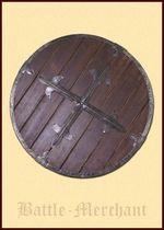 1116398000 Round wooden shield with steel fittings