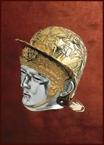 1716671300 Ribchester cavalry helmet, brass and steel