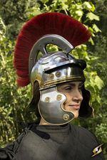 20012250 Roman trooper helmet with red feather