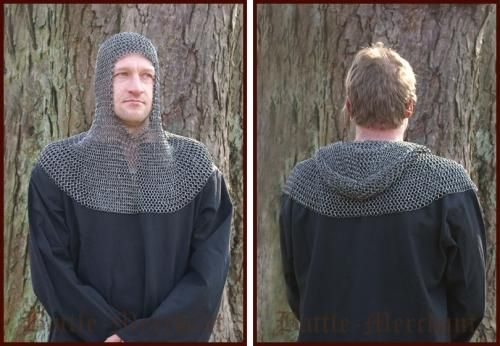 ULF-FRW-CSQ Hangman or riveted flat chainmail hood for recreation