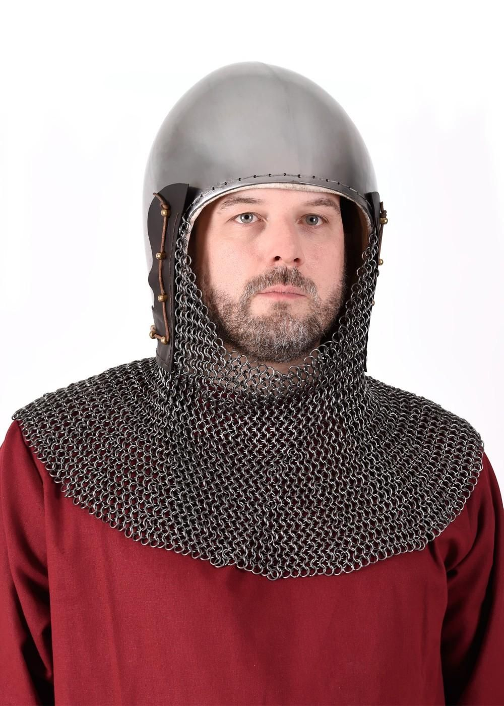 ULF-HM-35B 14th Century Bascinet Helmet with Chainmail