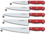 KITCHEN KNIVES WITH RED HANDLE
