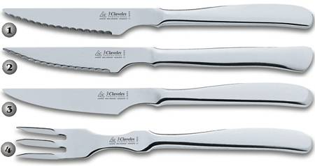 3 CLAVELES STAINLESS KNIVES AND FORK