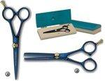 3 CLAVELES SCISSORS FOR HAIRDRESSING SALON COVERED OF BLUE TITANIUM NITRIDE