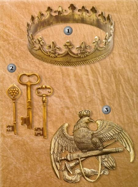 CROWN, EMBLEM AND KEYS