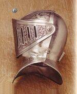 HELMET GRAVED OF FRANCE, HELMET GRAVED OF NORTH SPAIN, BREASTPLATE, AXES AND GAUNTLETS