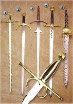FLAMIGUERA SWORD, SANCHO DAVILA SWORD, GREAT THOR SWORD, MERCENARY'S SWORD AND JAIME I SWORD