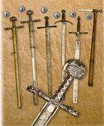 CARLOMAGNO SWORDS, CROSS SWORDS, TWO HANDS SWORDS, HELMET BROKER MACE