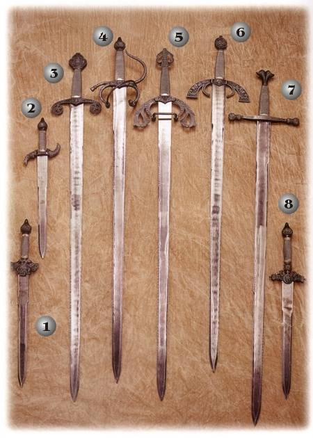 TIZONA DEL CID SWORD, COLADA DEL CID SWORDS, CHARLES V SWORD, SAINT FERNANDO SWORDS, GREAT CAPITAIN SWORD, DAGGER LIONS, DAGGER BIRDS AND DAGGER EAGLES.