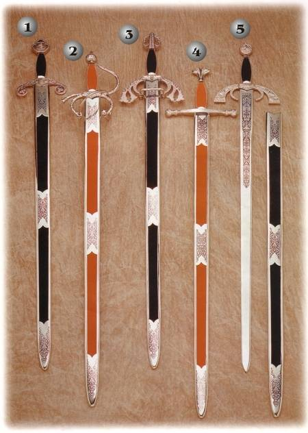 TIZONA DEL CID SWORD, COLADA DEL CID SWORD, CHARLES V SWORD, GREAT CAPITAIN SWORD AND SAINT FERNANDO SWORD