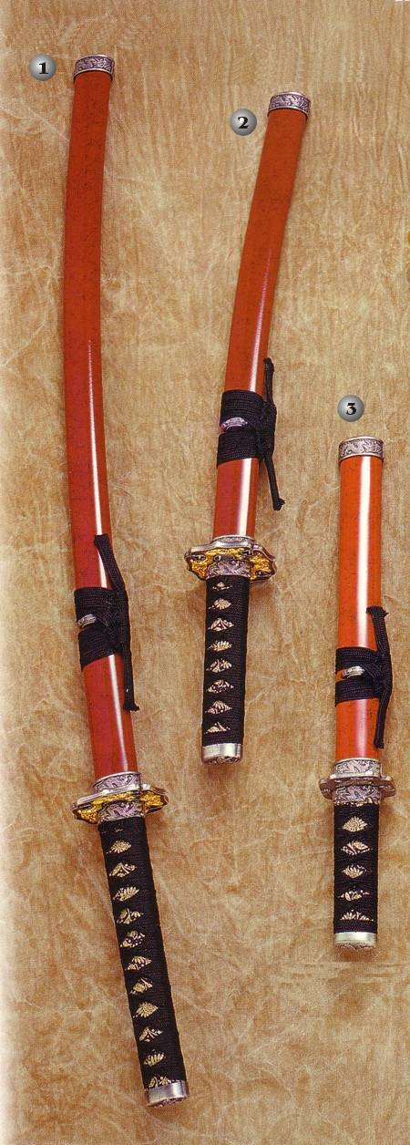 KATANA, WAKIZASHI AND TANTO WRAPPED, KATANA, WAKIZASHI AND TANTO BLUE AND YELLOW