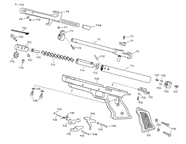 parts breakdown of air pistol indian nickel