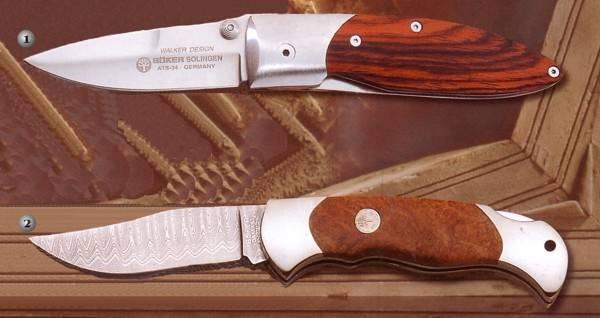 Boker Walter wood 112076 and Boker Damast Amboina 112022DAM knives