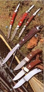 RED BONE I, PALISANDER, BIRD HUNTER, THUJA, POCKET PALISANDRO KNIFE, AND POCKET INOX KNIVES
