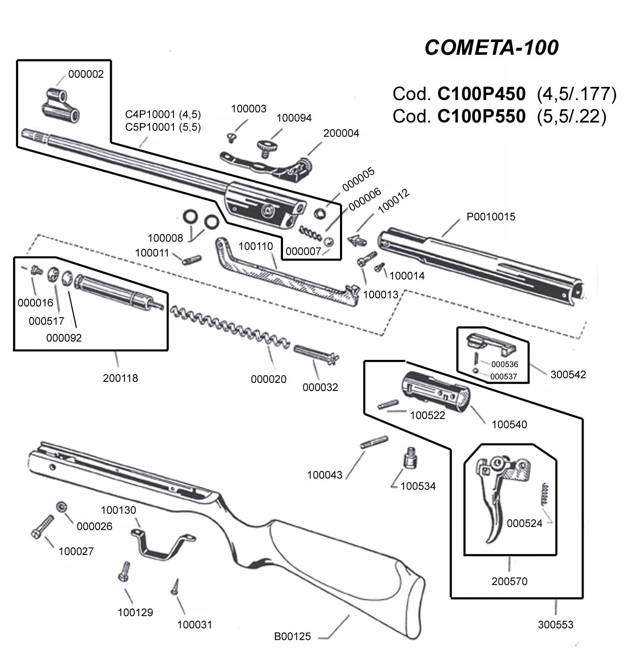 Cometa Parts Breakdown. Airgun 100