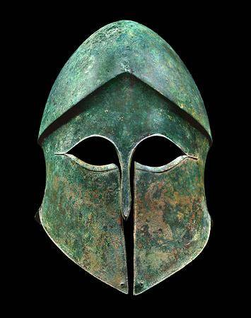 The Greek Corinthian helmet is one of the most famous in history