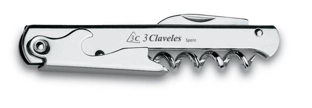 3CLAVELES NICKEL PLATED CORKSCREW WITH PENKNIFE