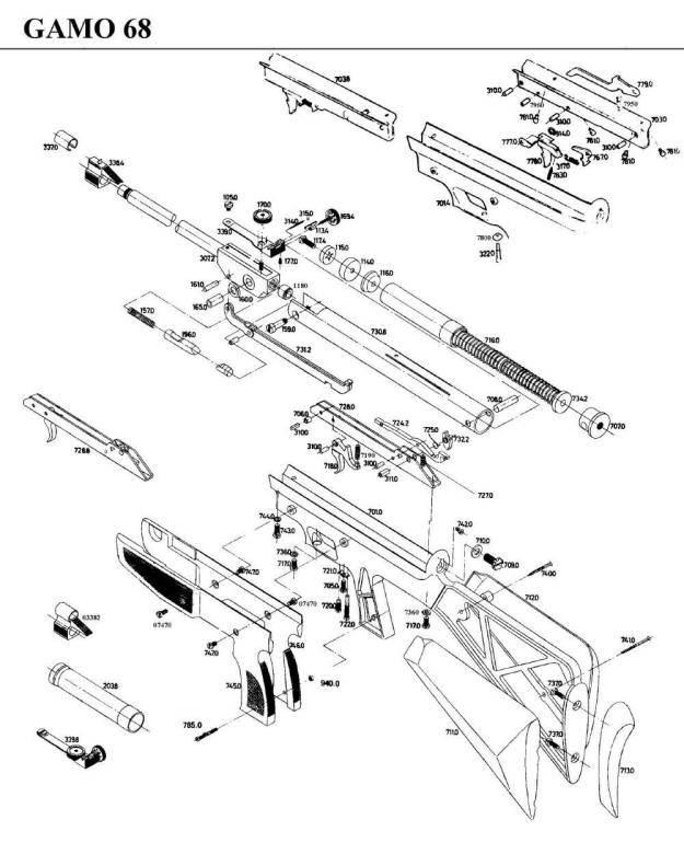 Gamo 68 Airgun Parts Breakdown