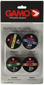 Gamo pellets 4 kit penetratión, incluye balines Macht, Round, Magnun y Hunter