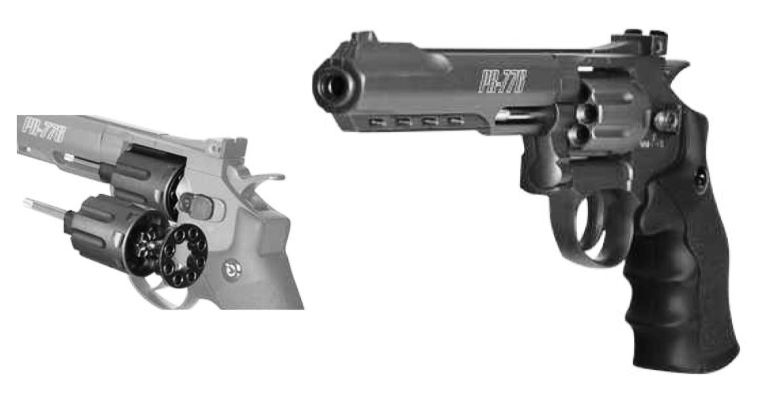 Gamo Pr-776 Revolver, uses a 12-gram CO2 cartridge and 8rd pellet rotary clip